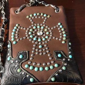 Handbags - Western Style Rhinestone Turquoise crossbody purse
